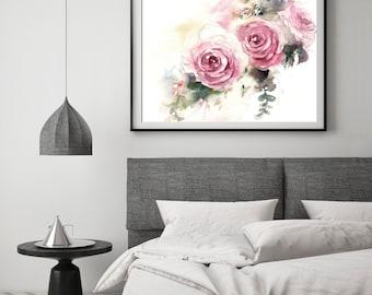 Roses Fine Art Print, Pink roses watercolor painting art, flowers botanical modern wall art print
