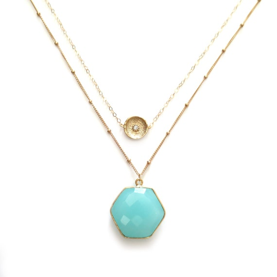 Mint Chalcedony Hexagon Layered Necklace