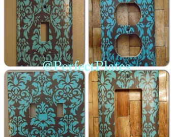 Blue and Brown Damask Vintage Antique Custom Light Switch Plate Cover HOME DECOR*Various Type Covers Available*