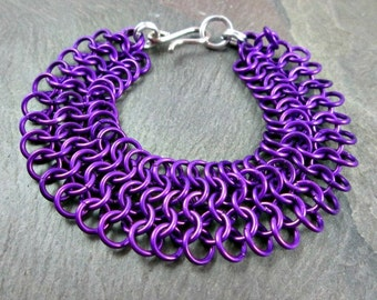 Chainmaille Bracelet - Magenta Chainmaille - European Weave - Chainmail Jewelry - Chain Mail Bracelet - Purple Chainmail
