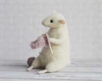 Felted Mouse, Knitting Mouse, Needle Felted Mouse, Cute Felted Mouse, Eco Toy