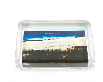 Glass Paperweight , Gift For Him, East Of Coopers Beach Southampton village, Fine Art Print Decoupaged on Crystal Glass, Unique Gifts