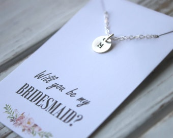 Bridesmaid Necklace. Will you be my bridesmaid. Sterling Silver Personalized Initial Charm. Swarovski Pearl. Wedding.