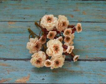Primroses - Artificial Pom Pom Roses - Cream with Peach - VERY SMALL FLOWERS - Miniature Cream Pom Pom Roses