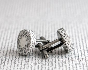 1st Wedding Anniversary Gift, Personalised Paper Cufflinks with Custom Engraving