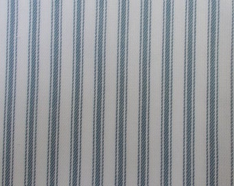 Light Blue and White Ticking Stripe Fabric By the Yard Cotton