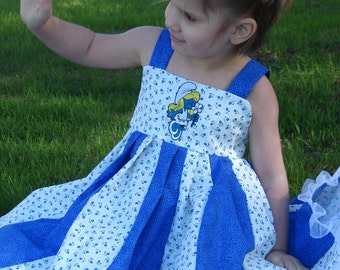 custom boutique twirl dress made with smurfet patch 2-6