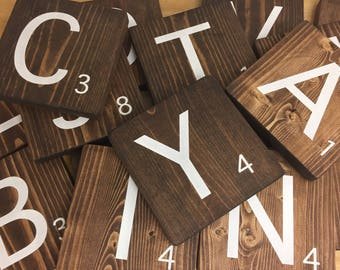 Wooden Letter Tiles - Word Game Tiles - Family Name Wall Decor
