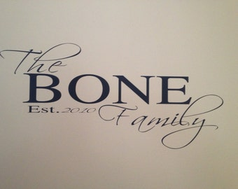 Family Name Established Decal