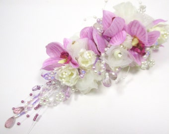 Radiant Orchid Large Beaded Silk Bridal Hair Clip in Lavender and Cream with Swarovski Crystals