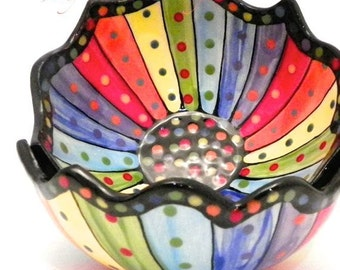 Rainbow Striped Ceramic Bowl (1) One Stoneware Made to Order BWL008