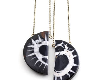 Alba -- black and white Septarian crescent half moon gemstone pendant necklace, gem, modern, pattern stone, unique, gift for her and him