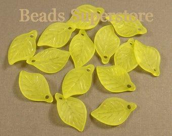 FINAL SALE 18 mm x 11 mm Light Lemon Green Lucite Leaf Bead / Pendant - 24 pcs