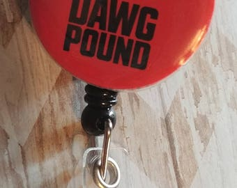 Dawg Pound orange and brown mascot flat back Badge Retractable Reel, Feltie Badge, Badge Reel, Nurse Gift, ID holder, Swivel Badge, coach