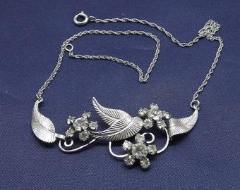 Vintage Sterling Silver Rhinestone Floral Leaf Chain Necklace