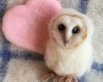 Owl/Barn Owl/Baby Owl/Owlet/Mothes Day Gift/Needle Felted Owl/Baby Shower gift/Owl Gift/Owl Lover Gift/Owl Ornament