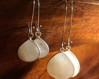 Moonstone white briolette medium and small teardrop earrings wrapped in silver