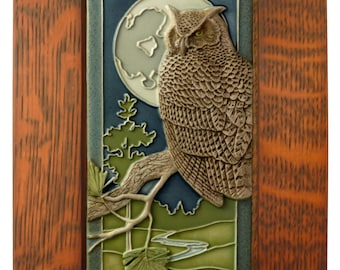 Framed Ceramic tile, Night Owl, art tile, wall decor, sculpture,  4x8 inches