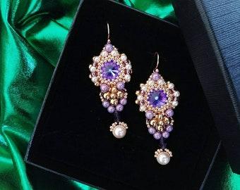 Long Swarovski earrings, rose gold Swarovski earrings, purple long earrings,colorful elegant earrings, gift for her, pearl earrings,