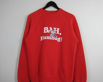 80s Bassett-Walker Size L 50/50 Blend USA Made Red Scrooge Christmas Carol 'Bah, Humbug' Cartoon Front Graphic Long Sleeve Crew Neck Sweater