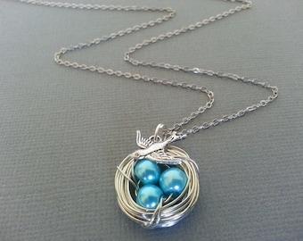 Teal Blue Bird Nest Necklace