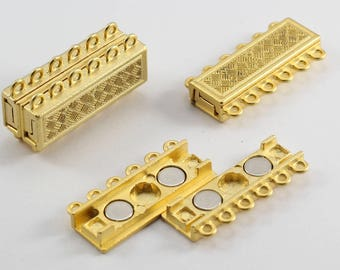 10 Sets, 6 Hole Standart Clasp, Bracelet Clasp, Necklace Clasp, Gold Plated Closure, Vintage Clasp, Magnetic Clasp, Strong Magnet, CHD36