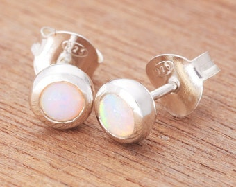 0.39ct Solid White Opal Earrings in Sterling Silver, Unique Natural Australian Opal Jewelry SKU: 1939A080