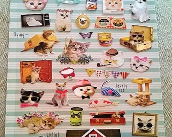 cute cats paper 33 stickers decals