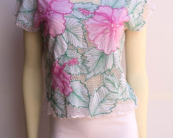S A L E Delicate 80's Vintage Large Floral Embroidered Crochet Batwing White & Pink Shirt
