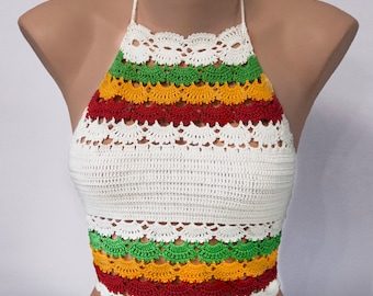 Ukraine Fashion, Rainbow Top, Rainbow Bikini, Crochet Top, Hippie Top, Hipster Top,  Hot bikini top by LoveKnittings
