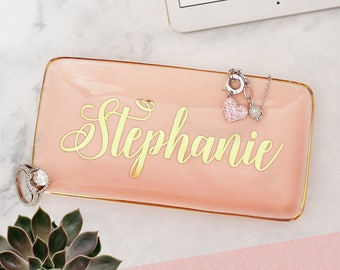 Personalized Ring Dish Bridesmaid Gift Ideas Proposal Monogram Jewelry Tray Box Dish Catch All Valentines Gift Pink & Gold