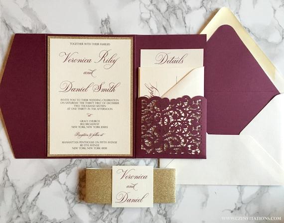 Burgundy And Gold Wedding Invitations