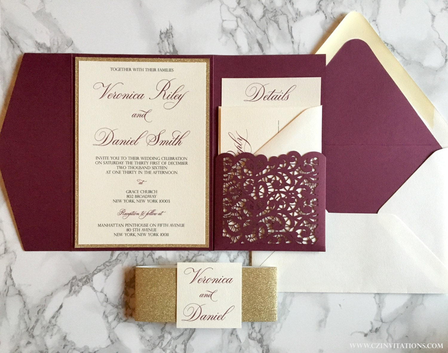 Photo Pocket Wedding Invitations: Laser Cut Pocket Wedding Invitation Burgundy And Gold Glitter