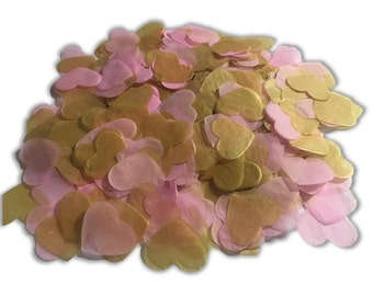 Pink and Gold Tissue Paper Confetti - 1 inch Heart - Wedding, Baby Shower, Parties, Invitations