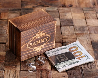 """Initial """" S """" Personalized Men's Classic Cuff Link & Money Clip with Wood Box Monogrammed Engraved Groomsmen, Best Man, Father's Day Gift"""