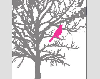 Bird in a Tree - Modern Nursery Art Decor - 11x14 Print - CHOOSE YOUR COLORS - Shown in Hot Pink, Navy Blue, Gray, Black, and More