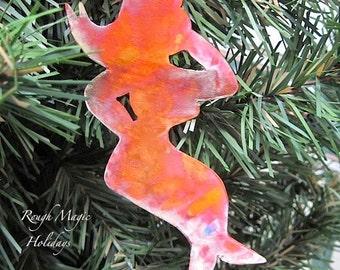 Ethel Mermaid Christmas Ornament, Copper Ornament, Holiday Decoration, Xmas Tree Ornament, Rustic Primitive, Nautical Beach Style