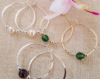 Hoop in Sterling Silver or 14Kt Gold Filled with a 6mm bead of your choice