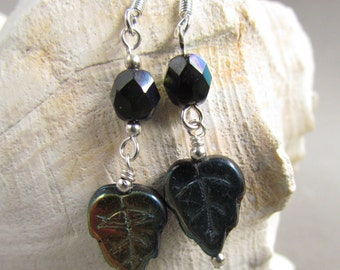 Black Leaf Earrings, Dangle Earrings, Beaded Jewelry, Gift Giving, Winter Fashion, Gift for Her, SRAJD, Harleypaws, Stocking Stuffer