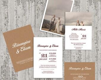 Kraft classic wedding invitations