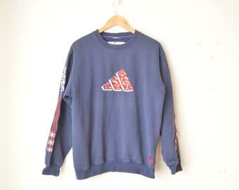 ADIDAS dark navy blue oversized vintage sporty sweatshirt 80s // M