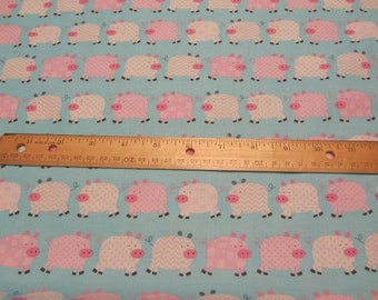 Blue with Pink/White Chevron and Dotted Pig Cotton Fabric By the Yard