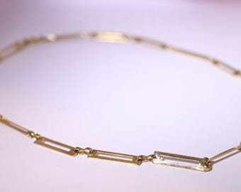 Gold Rectangle Link Chain