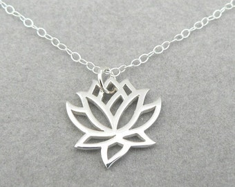 Lotus sterling silver flower charm necklace