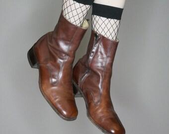 Vtg 70s brown soft leather Florsheim western mod boots size listed mens 8.5