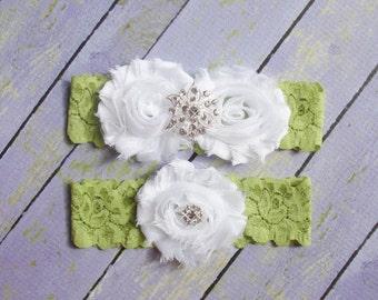 Green Lace Garter, Green Bridal Garter, Garter Green, Garter Set, Garter Belt, Wedding Garter, Olive Garter, White Olive Garter