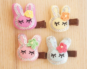 Little Bunny Hair Clip, Handmade, baby/Toddler/Girl Hair Clip, Princess Birthday Easter Rabbit -JuliaCraft Australia