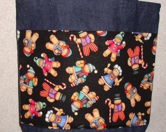 New Handmade Medium Gingerbread Men at Work Christmas Holiday Denim Tote Bag