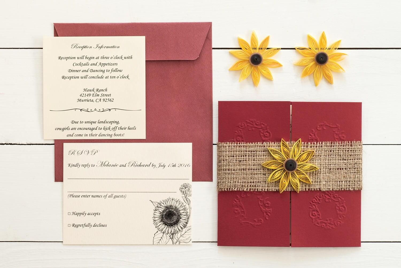 Sunflower and burgundy wedding invitation Sunflowera nd burlap