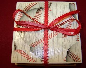 Baseball Ceramic Tile Coasters Set of 4